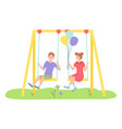 children spending time at playground girl vector image vector image