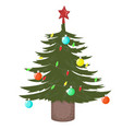 christmas tree decorated with balls and a garland vector image vector image