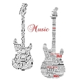 Classic guitars with words and musical notes vector image