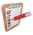 clipboard survey and pencil icon vector image