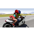 couple riding a motorcycle on the road out of town vector image vector image