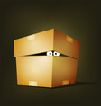 creature inside birthday cardboard box vector image vector image
