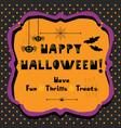 cute happy halloween emblem greeting card vector image vector image