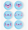 emojis kawaii cartoon expression blue aminal faces vector image vector image