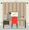 Empty Workplace Flat Design vector image vector image