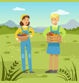 farmers man and woman holding baskets with fresh vector image vector image