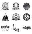 fishing hook logo set simple style vector image