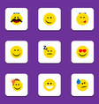flat icon gesture set of grin winking cheerful vector image vector image