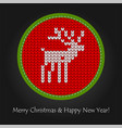 flat knitted pattern with raindeer vector image vector image