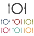 Fork plate and knife icons set vector image vector image
