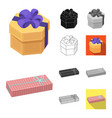 gift and packing cartoonblackflatmonochrome vector image