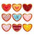 gingerbread cookies cartoon sweets in heart shape vector image