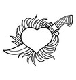 graphic flaming heart with knife vector image vector image