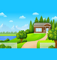 green landscape with house near lake and mountains vector image