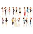 groups businesswomen cartoon style set vector image