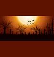 halloween background with graveyard vector image