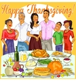 Happy family celebrating Thanksgiving Day vector image