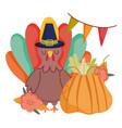 happy thanksgiving day turkey cartoon pumpkin vector image vector image