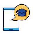 hat graduation in speech bubble with smartphone vector image vector image