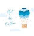 hot air balloon with girl vector image
