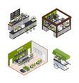 isometric coffee shops set vector image vector image