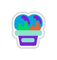 label icon on design sticker collection ice cream vector image vector image