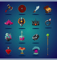 legendary asset set magic items and resource vector image vector image