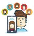 man community online smartphone design vector image vector image