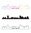 New Haven skyline linear style with rainbow vector image vector image