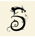 Number five made from dragon vector image vector image