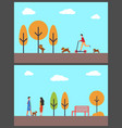 people walking dog in autumn park man on scooter vector image vector image