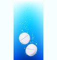 pills in water on white background for creative vector image vector image