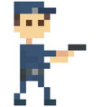 pixel police man with pistol officer stands in vector image