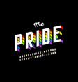 rainbow flag colors font colorful alphabet vector image