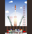 rocket launch into space from the launch site vector image vector image