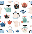 seamless pattern with teapots and cups hand drawn vector image vector image