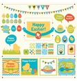 set happy easter ornaments vector image