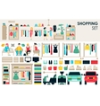 Shopping Big Collection in flat design background vector image vector image