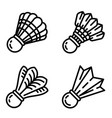 shuttlecock icons set outline style vector image vector image