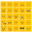 smiley faces with facial expressions on yellow vector image vector image