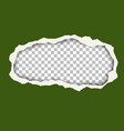 snatched hole in green foliage color paper sheet vector image