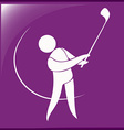 Sport icon for golf on purple vector image vector image