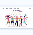 sports fans website landing page design vector image vector image
