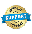 support 3d gold badge with blue ribbon vector image vector image