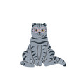 tabbritish grey cat with glasses sitting in vector image vector image