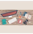 top view workplace concept flat design office vector image vector image