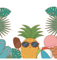 tropical summer frame with cartoons vector image vector image