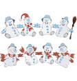 Two rows of Christmas Snowmans vector image