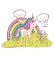 unicorn fantasy cartoon vector image