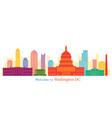 washington dc landmarks skyline and skyscraper vector image vector image